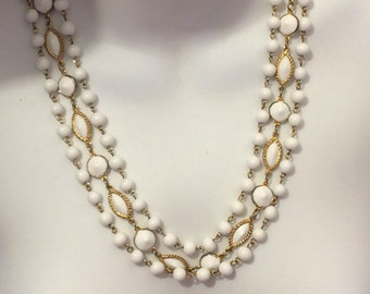 White Glass and Goldtone Vintage Triple Strand Necklace