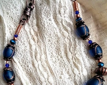 Handcrafted Cobalt Blue & Copper Glass Beaded Chain  Necklace with Swavorski Crystals