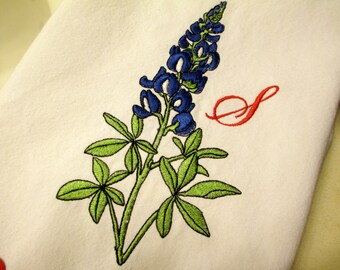 Personalized Tea Towel Embroidered Bluebonnet Flowers and Customized with Initial or Name of  Choice