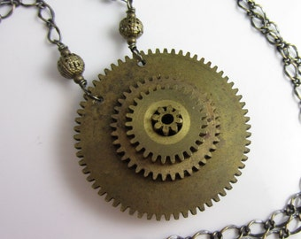Inner Workings Necklace - Vintage Brass Gears