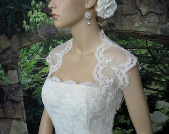 Lace bolero, wedding bolero, wedding jacket, Ivory sleeveless dot lace wedding bridal bolero jacket