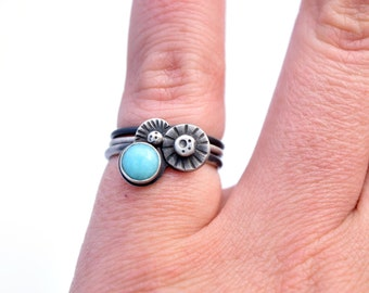 Amazonite Ring, Ocean Jewelry, Sterling Silver Stacking Ring Set, Oxidized Silver Rings, Hand Stamped Ring Size 6.5, Beach Jewelry