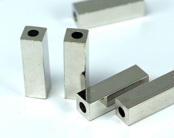 """square tube silver tone brass 6x20 mm 1/4"""" x 5/4"""" finding spacer industrial design (3 mm 1/8"""" hole ) bab3 1374NF"""