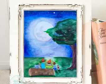 Nursery Wall Art, Watercolor Night Sky, Campfire, Animal Art