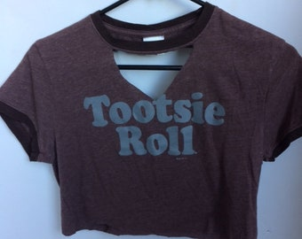 tootsie roll cropped and altered t shirt size medium