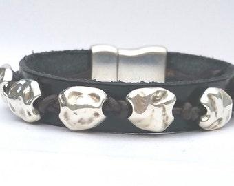Leather and Zamak bracelet, women's bracelet, women's leather bracelet