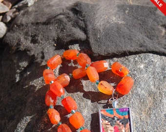 """Sale -  Multicolored Clay Pendant and Carnelian Chain Necklace - """"Once Upon a Song"""""""