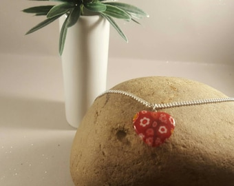 Red heart love,millifiore lamp work glass colour charm pendant and silver chain