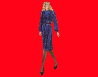 Vintage Sewing Pattern - Vogue 8148 - 1980's Dress - Size 8