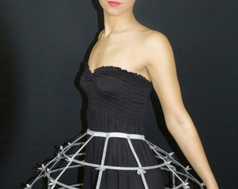 Silver lame color Crinoline hoop cage skirt pannier 4 rows elastic waist band and satin ribbon fantasy cage Dress Ball Gown Bone