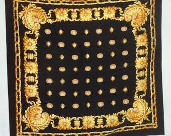 "90s Art Silk Scarf Italian Royal Jewels Classic Large 34"" Black Gold Rose Pink diamonds Cameo Regal Chains Gems Womens Decor hair Prop Shawl"