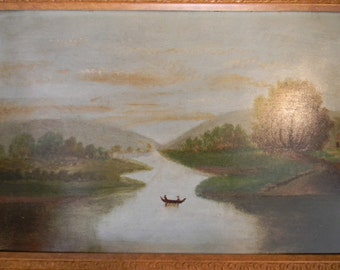 Vintage Antique Hudson River Oil Painting on Academy Board