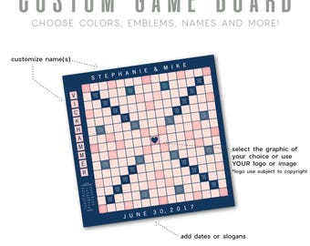 Custom Game Board     Select Colors and Emblem, Add Name(s), Dates or Slogans