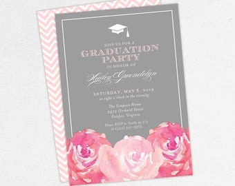 Graduation Invitation, Graduation Announcement, Printable Invitation, Invitation PDF, DIY, Printed, Watercolor Flowers, Gray, Pink, Hailey