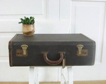 Vintage Brown Suitcase, Brown Case, Vintage Luggage, Industrial Storage, Antique Suitcase, Vintage, Brown Luggage, Vintage Storage