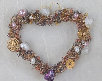 Romantic jeweled heart pink white purple beaded wired  heart wreath home decor mother's day bridal wedding