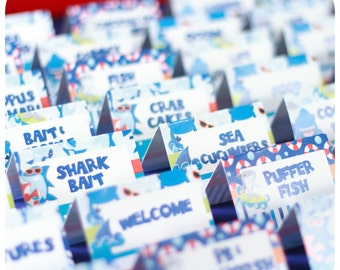 Shark Party; Shark; Shark Party; Shark Birthday Party; Shark Birthday; Birthday Party; Shark Birthday Party food Labels; PDF Printable