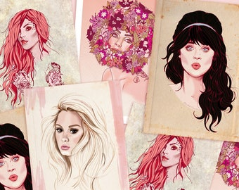 SALE - Fashion Illustration Wall Art Print by Rachel Corcoran - Adele, Zooey Deschanel, Lady Gaga, Kat Von D Poster - Female Fashion Poster