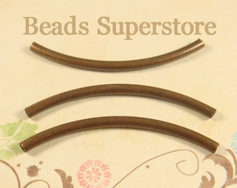 50 mm x 3 mm Antique Copper-Plated Brass Curved Tube Spacer - Nickel Free, Lead Free and Cadmium Free - 10 pcs