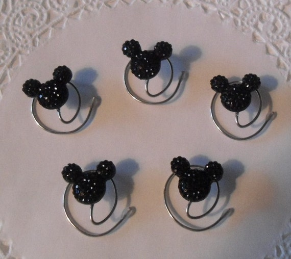 MOUSE EARS Hair Swirls for Wedding Party in Dazzling Black Acrylic