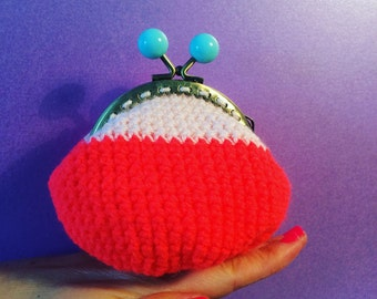 Purse, coin purse,birthday gift,retro clasp. Neon orange and pale pink with baby blue clasp.