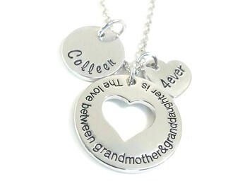 Personalized gift for grandma The love between grandmother and granddaughter is forever grandmother necklace gift Hand stamped Jewelry
