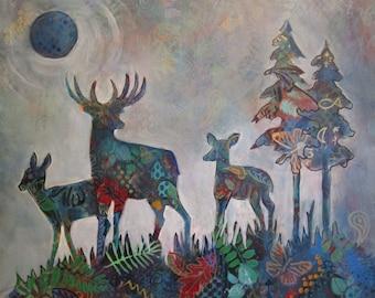 Deer Blue Moon- Acrylic Painting