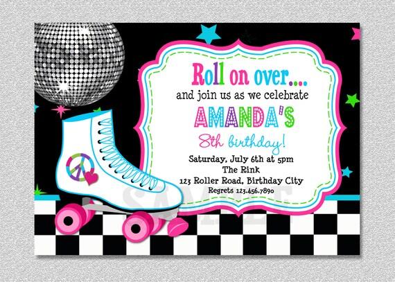 Roller Skating Birthday Invitation Rollerskating Birthday