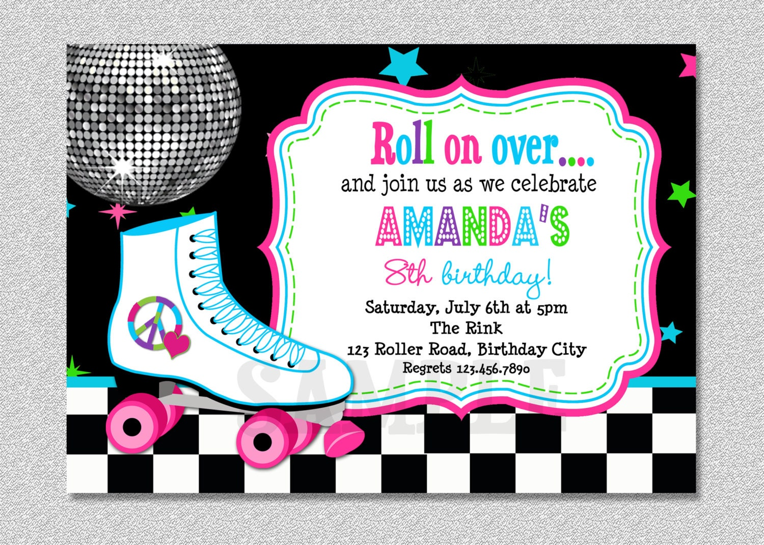 Roller skating birthday invitation rollerskating birthday zoom filmwisefo Choice Image