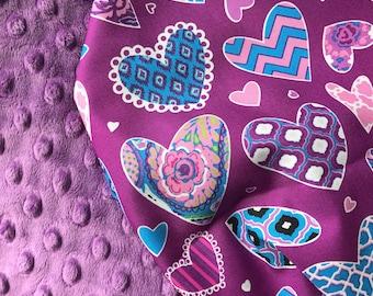 Baby Girl Blanket, Purple Baby Blanket, Stroller Blanket, Minky Blanket, Baby Shower Gift, Toddler Blanket, Personalized Gift