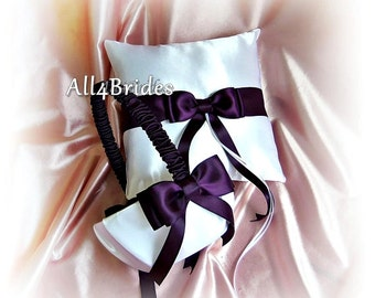 Eggplant Purple Wedding Ring Bearer Pillow and Flower Girl Basket, Wedding Party Ceremony Decor
