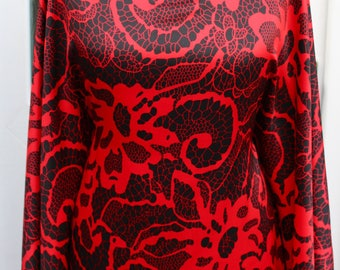 Pure satin silk fabric, Red and Black paisley/ Printed satin silk, designer print, Floral Silk Satin, dress fabric, sold by the yard