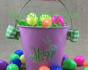 Small personalized pink Easter basket, Easter bucket, Easter pail.