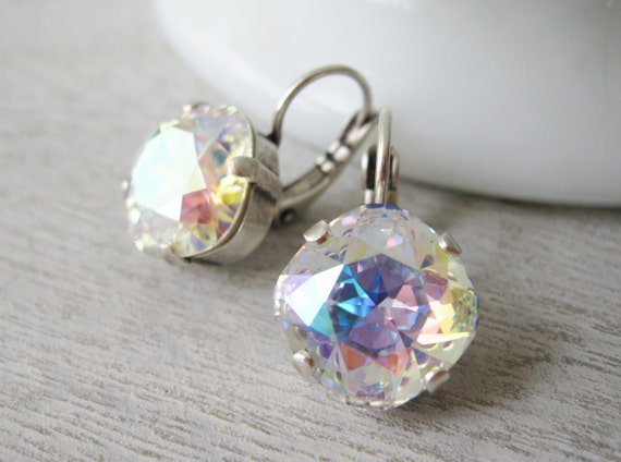 Aurora Borealis Earrings Bridesmaid Jewellery Rainbow Earrings Wedding Jewellery AB Swarovski Elements Nickel free Leverbacks