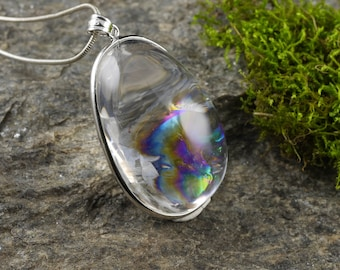One Extra Large Rainbow QUARTZ Pendant - STERLING SILVER Pendant, Natural Quartz Crystal Necklace, Rainbow Crystal, Quartz Cabochon E0190