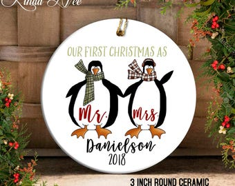 Our First Christmas as Mr and Mrs Ornament, Mr and Mrs Ornament, Mr Mrs Penguin, Custom Wedding Gift Personalized Wedding Gift Custom OCH137