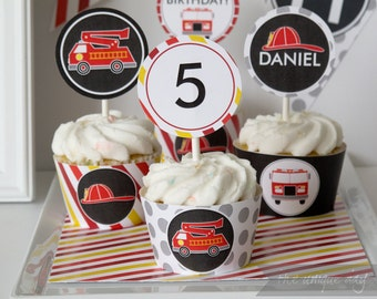 Cupcake Toppers & Wrappers Fire Truck Birthday Party  - Printables  - Party circles // FIR-04
