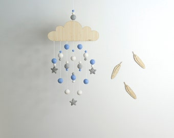 Cloud Mobile | Blue White Grey Felt Ball Mobile | Blue Nursery Mobile | Baby Mobile | Boy Decor | Baby Shower Gift | Laser cut Wood Mobile