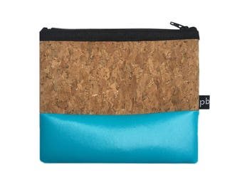 Pb_pochette Small, blue and cork leather clutches, handmade, purses, object holder, tricks