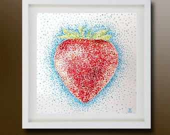 Still Life, Strawberry Original Painting, Acrylic on paper, Boba painting