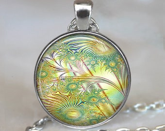 Summer Breeze Fractal necklace, fractal pendant fractal art necklace summer jewelry math necklace mathematics gift key chain key ring fob