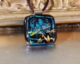 "Dichroic Glass Dragonfly Pendant Necklace Aqua Gold ""Everglade"""