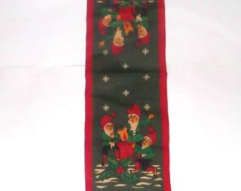 "Burlap Elf Gnome Christmas Vintage Table Runner 35"" long"