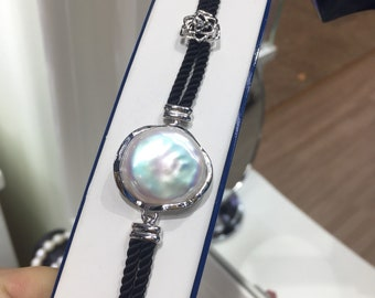 Design  Real Freshwater pearl in sterling silver bracelet