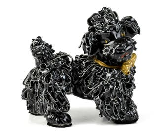 Vintage Retro Black Italian? Spaghetti Poodle Dog Figurine c1940-50s