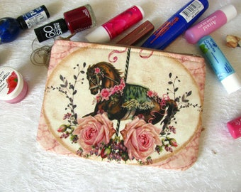 Zippered pouch with horse from carusel, makeup bag, phone case, purse