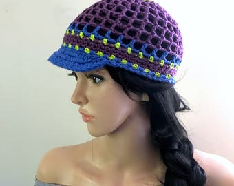 Poolside Brimster - Ballcap - Newsboy Style Hat - 100% Cotton Yarns in Purple, Acid Green and Dark Denim Blue - Light Airy - Spring Summer