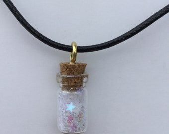 Mini Bottle Necklace Filled with Star Sparkles