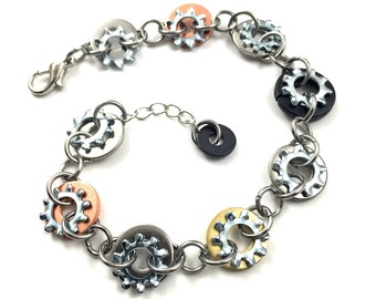 Link Bracelet Chain Mixed Metal Hardware Steampunk