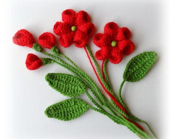 Crochet Applique Flowers and Leaves Set Any Colour - Made to Order